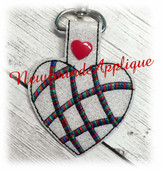 In The Hoop Heart Criss Cross Key Fob Embroidery Machine Design