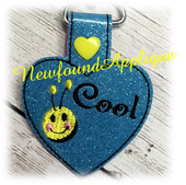 In The Hoop Bee Cool Key Fob Embroidery Machine Design