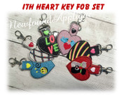 In The Hoop Valentine Key Fob Embroidery Machine Design Set