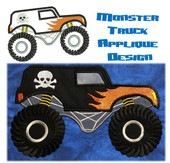 "Monster Truck Applique Embroidery Machine Design Fro 5""x7"" hoop"