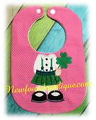 In The Hoop Girl St Patrick's Day Baby Bib Embroidery Machine Design