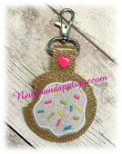 In The Hoop Key Fob Cookie With Icing and Sprinkles Embroidery Machine Design