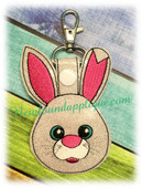 In The Hoop Easter Bunny Key Fob Embroidery Machine Design