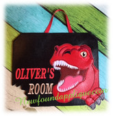 In The Hoop Dino Rex Door Sign Embroidery Machine Design Set