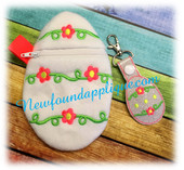 In the hoop Easter Egg Zipped Case and Key Fob Design Set