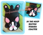 "In The Hoop Boston Terrier Flat Dog Coaster Embroidery Machine Design for 5""x7"" Hoop"