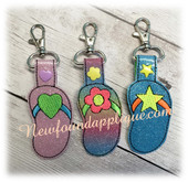 In The Hoop Flip Flop Key Fob Embroidery Machine Design Set