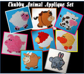 Chubby Animal Applique Design set for Embroidery Machines