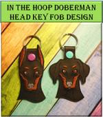 In the Hoop Doberman Key Fob Design