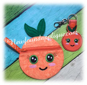 IN The Hoop Orange Zipped Case &Key Fob Embroidery Machine Design set