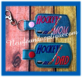 In The Hoop Hockey DAD, MOM, MUM Key Fob EMbroidery Machine Design set