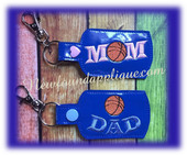 In The hoop Basketball MOM DAD Key Fob Embroidery Machine Design set