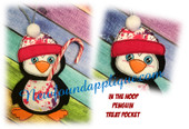 In The Hoop Penguin Treat Pocket/Photo Embroidery Machine Design