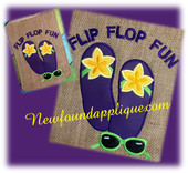 Flip Flop Fun Applique Embroidery Machine Design Set