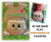 In The Hoop Flat Gingerbread Coaster Embroidery Machine Design