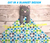 In The Hoop Cat In A Blanket Embroidery/Sewing Machine Design
