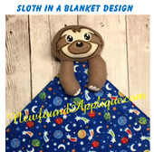 In The Hoop Sloth In A Blanket Embroidery/Sewing Machine Design