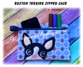 In The Hoop Boston Terrier Zipped Case Embroidery Machine Design