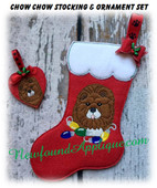 In The Hoop Chow Chow Stocking And Ornament Embroidery Machine Design Set