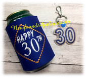 In The Hoop 30th Birthday Can Wrap and Snap Tab Key Fob Embroidery Machine Design Set.