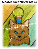 In the Hoop Cat Head Key Fob #4 Embroidery Machine Design