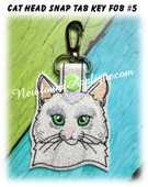 In the Hoop Cat Head Key Fob #5 Embroidery Machine Design