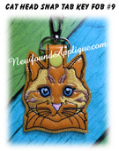 In the Hoop Cat Head Key Fob #9 Embroidery Machine Design