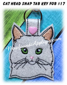 In the Hoop Cat Head Key Fob #17 Embroidery Machine Design