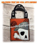 In The Hoop Halloween Treat Bag Skull With Bandana Embroidery Machine Design