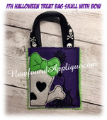 In the hoop Halloween Treat Bag Skull With Bow Embroidery Machine Design