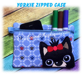 In The Hoop Yorkie Zipped Case Embroidery Machine Design
