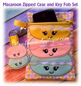 In The Hoop Macaroon Zipped Case and Key Fob EMbroidery Machine Design Set