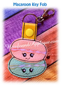 In The Hoop Macaroon Key Fob EMbroidery Machine Design
