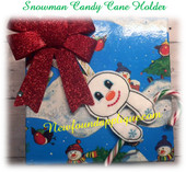 In The Hoop Snowman Candy Cane Pencil Holder Ornament Embroidery Machine Design
