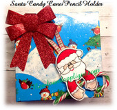 In The Hoop Santa Candy Cane Pencil Holder Ornament Embroidery Machine Design