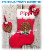 In The Hoop Pomeranian Stocking and Heart Ornament Embroidery Machine Design Set