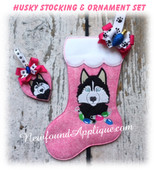 In The Hoop Husky Stocking and Heart Ornament Embroidery Machine Design Set