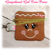 In The Hoop Gingerbread Girl Zipped Coin Purse Embroidery Machine Design