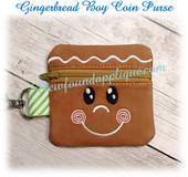 In The Hoop Gingerbread Boy Zipped Coin Purse Embroidery Machine Design
