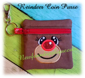 In The Hoop Reindeer Zipped Coin Purse Ebroidery Machine Design