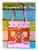 In the Hoop Gingerbread House Tote Embroidery Machine Design