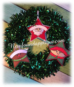 In The Hoop Star Christmas Ornament Embroidery Machine Design Set