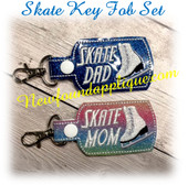 In The Hoop SKATE MOM & DAD Key Fob Embroidery Machine design SEt