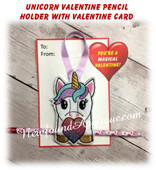 In the hoop Unicorn Valentine Heart Pencil Holder Embroidery Machine Design