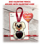 In The Hoop Dog Valentine Heart Pencil Holder Embroidery Machine Design
