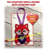 In The Hoop Fox Valentine Heart Pencil Holder Embroidery Machine Design