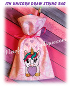 In The Hoop Unicorn Draw String Bag Embroidery Machine Design