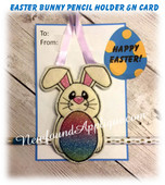 In The Hoop Easter Bunny Pencil Holder & Card Embroidery Machine Design Set