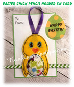 In The Hoop Easter Chick Pencil Holder & Card EMbroidery Machine Design Set