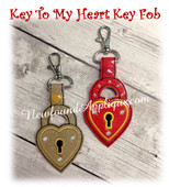 In The Hoop Heart With Lock Key Fob EMbroidery Machine Design